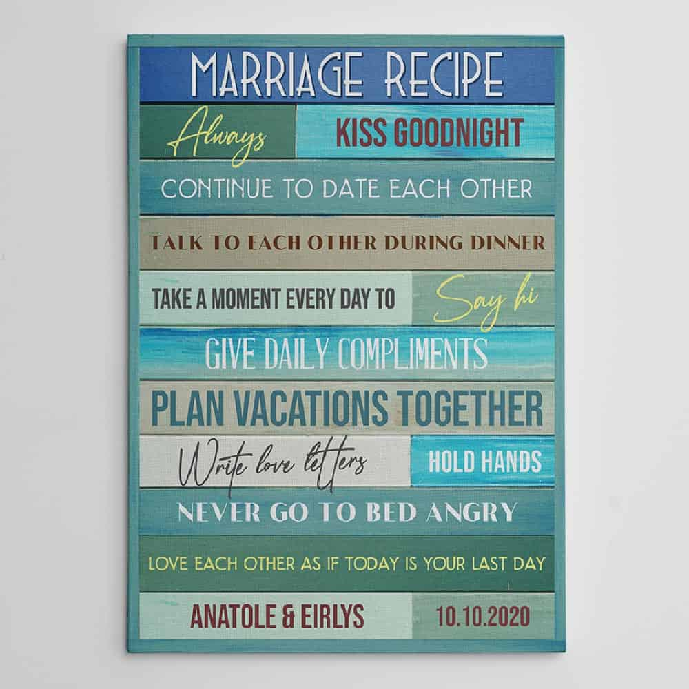 Marriage Recipe Custom Canvas Print For Daughter-In-Law