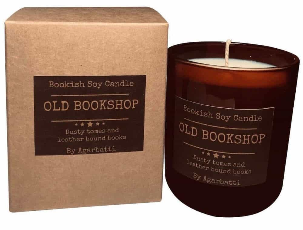 old bookshop scented candle gift