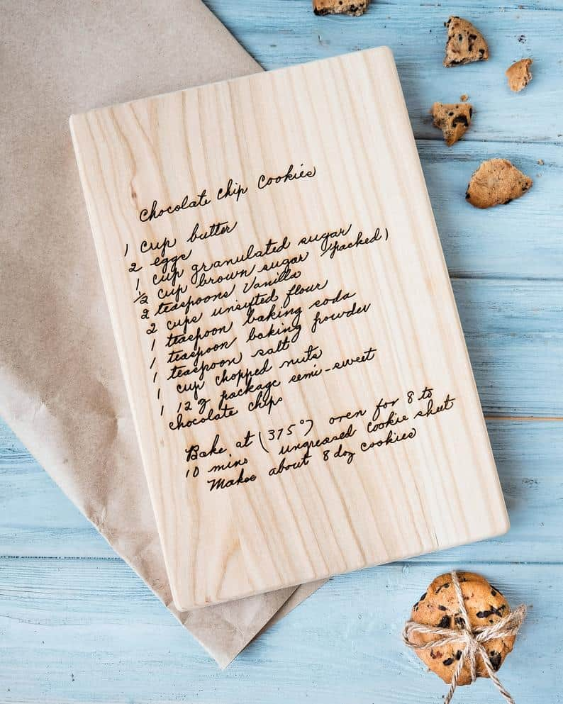 great gifts for women: personalized recipe  cutting board