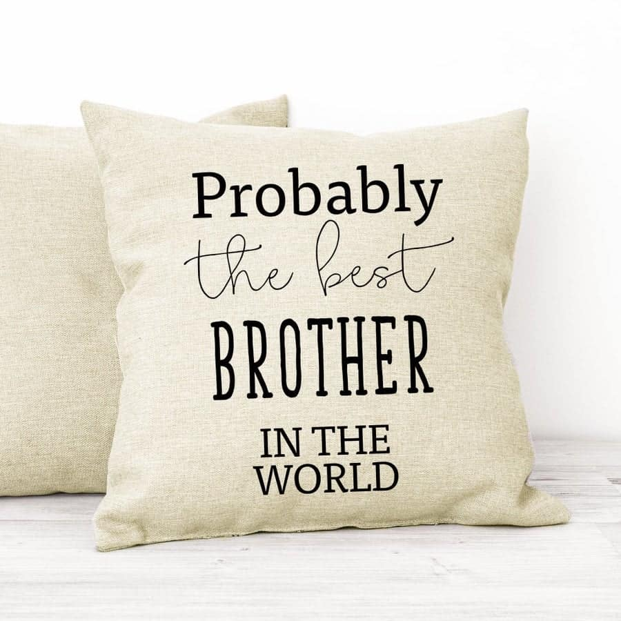 a pillow with the words probably the best brother in the world
