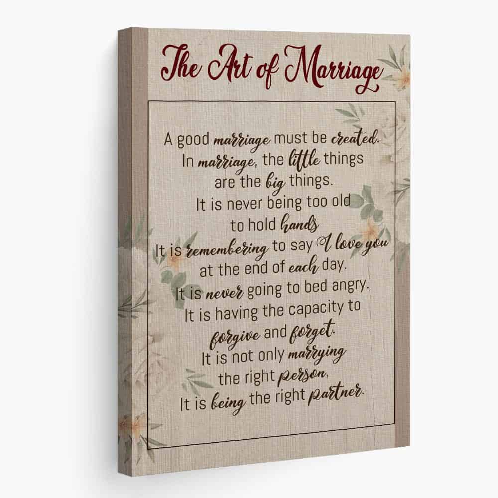 The Art Of Marriage Poem Canvas Print Gift For Daughter-In-Law