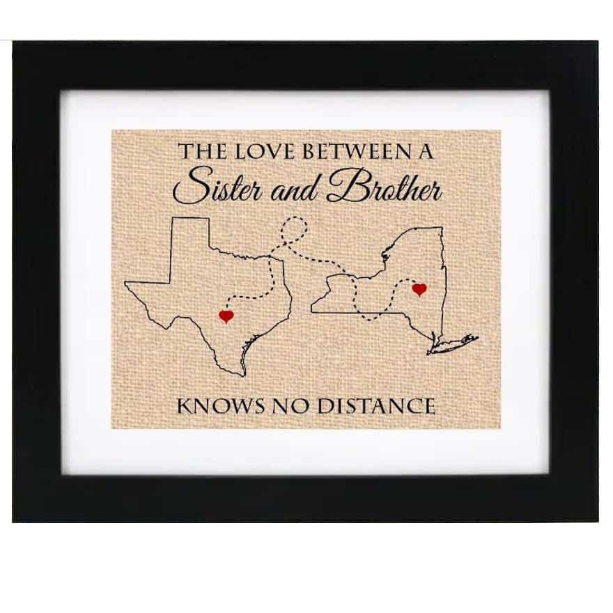 a state map print as a long distance gift for brother from sister