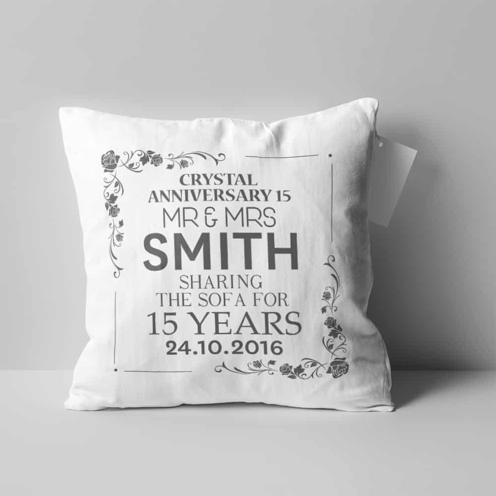 """15th Anniversary Sharing the Sofa"" custom pillow"