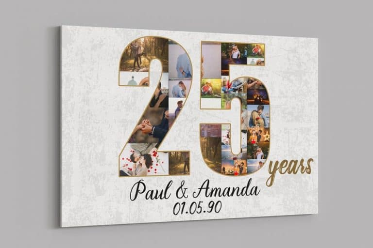 25th Anniversary Gifts Custom Collage Photo Canvas