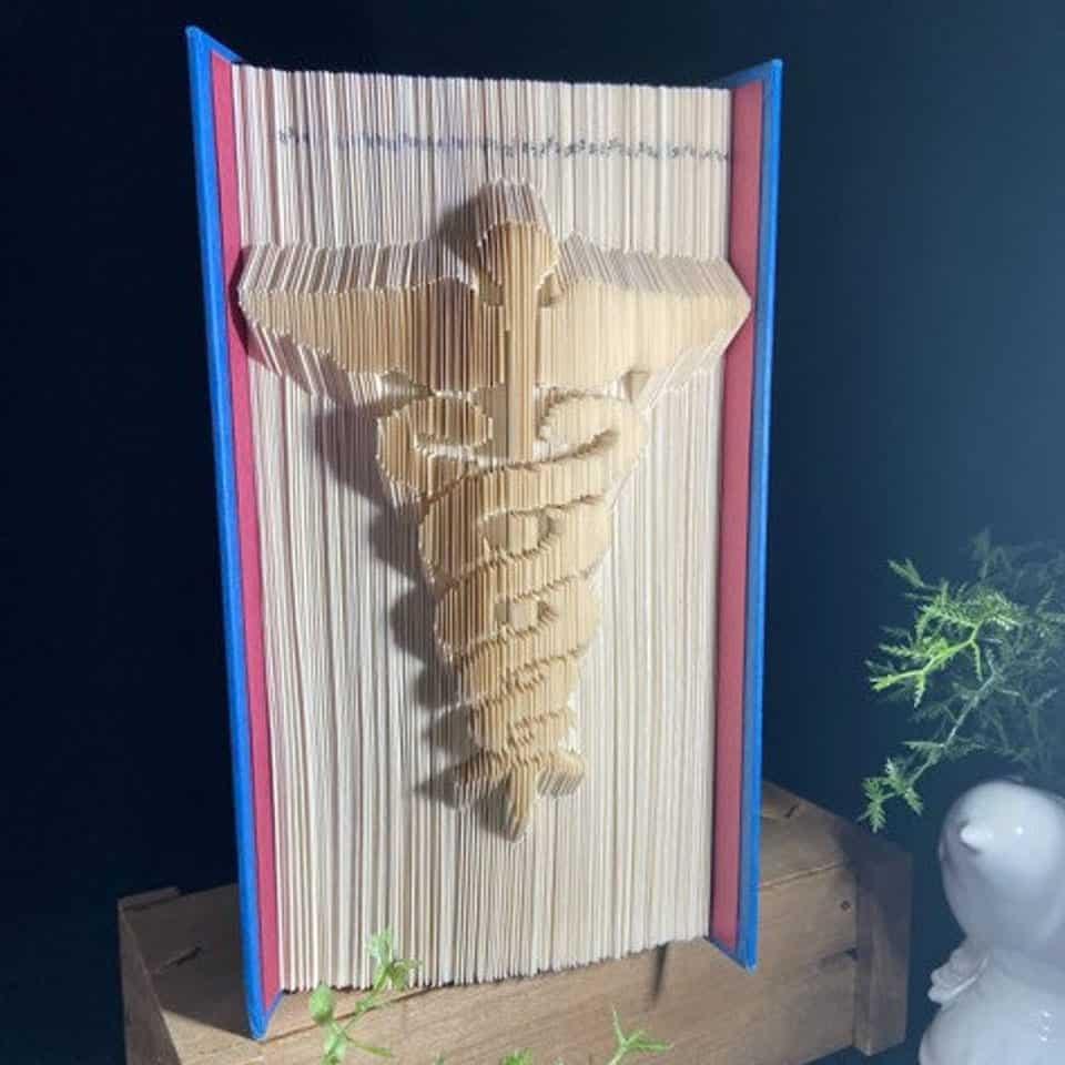 Caduceus Medical Folded Book Art Pattern - graduation presents for her