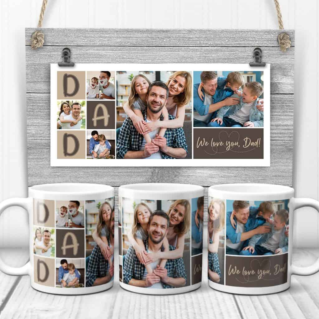valentine's day gifts for dad: photo collage mug