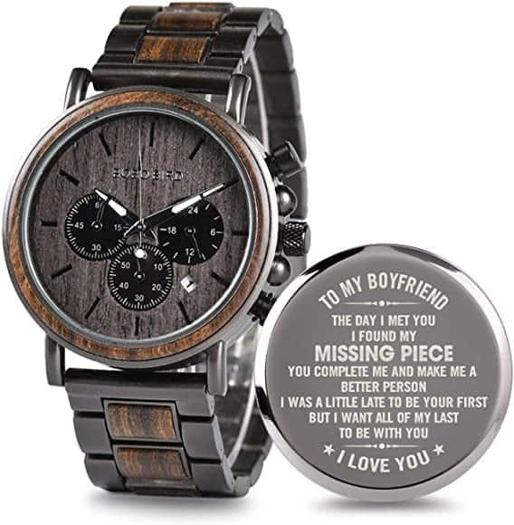 Engraved Wooden Watch for Boyfriend