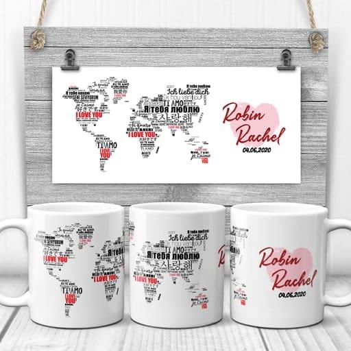 I Love You World Map Coffee Mug - cheap valentines day gift