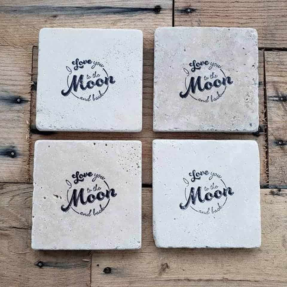 I Love You to the Moon and Back Stone Coaster: romantic gifts for him
