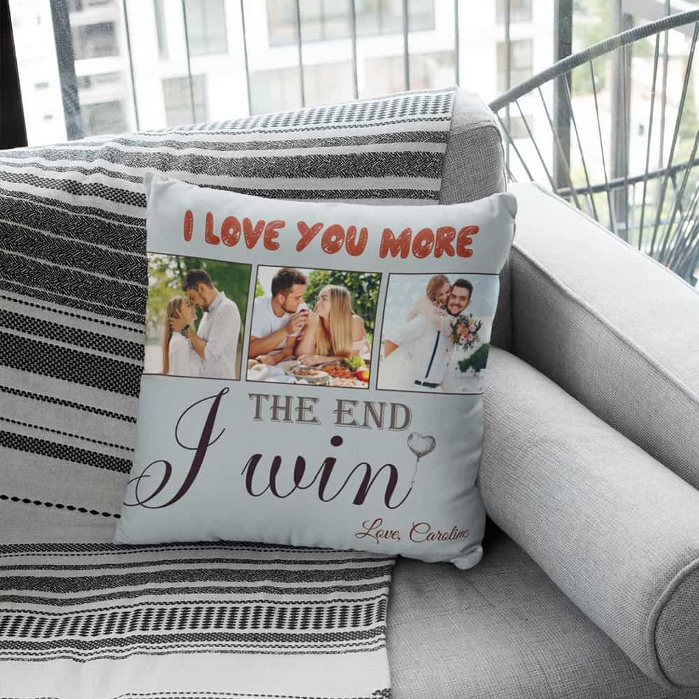 valentines gifts for husband: custom photo suede pillow