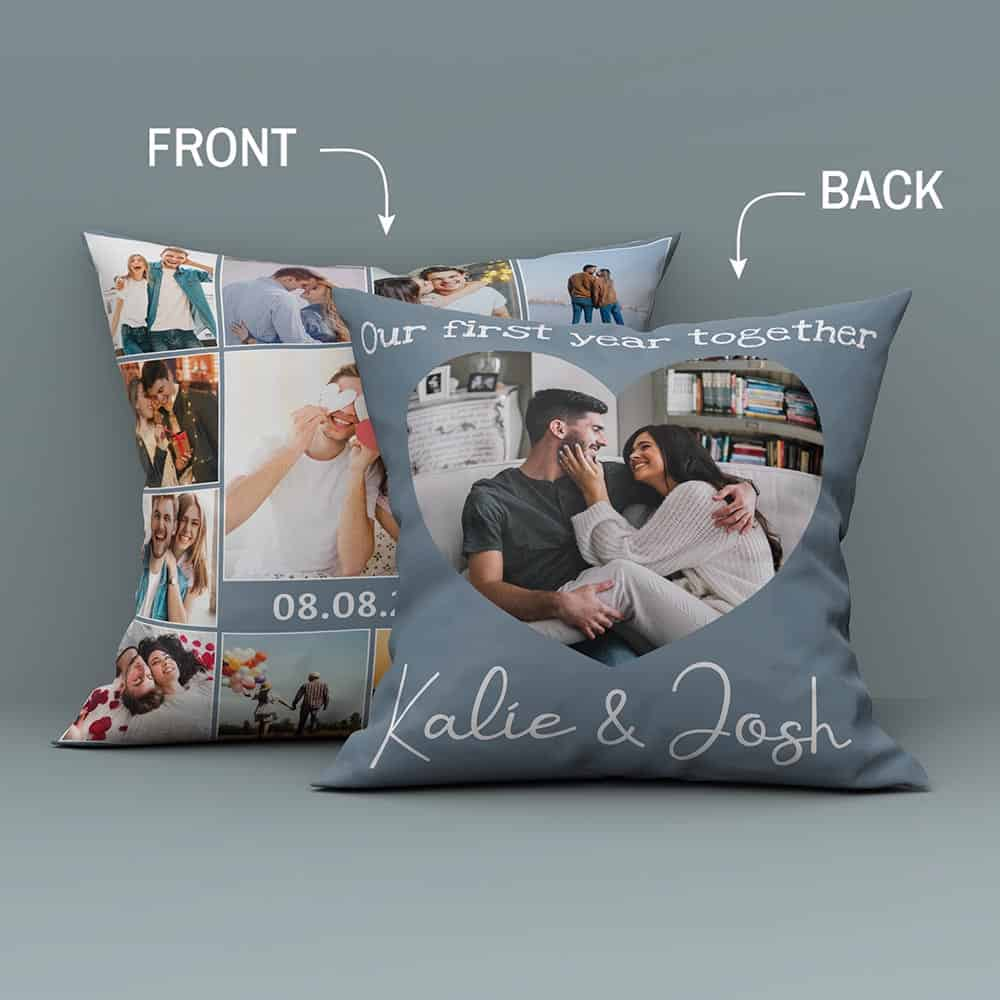 Our First Year Together Custom Photo Collage Suede Pillow
