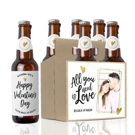 Photo Beer Labels & Beer Carrier - inexpensive valentine gift