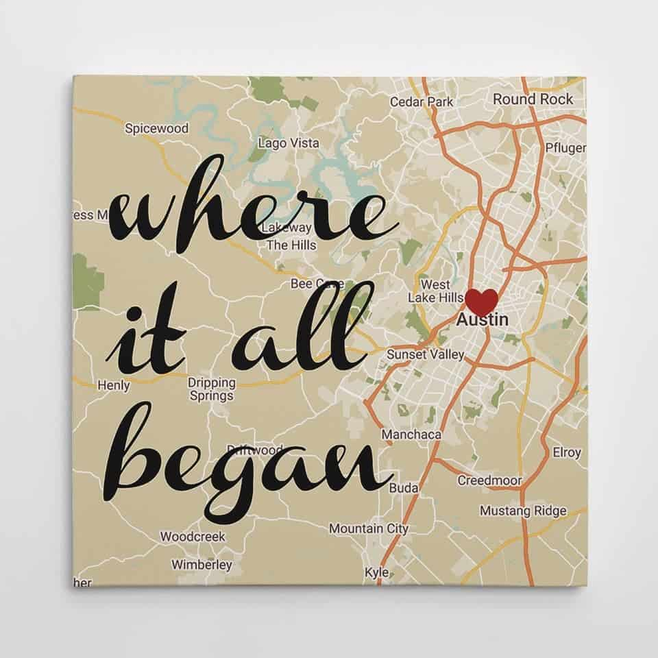 Where It All Began Map Canvas - things to get your woman for valentines day