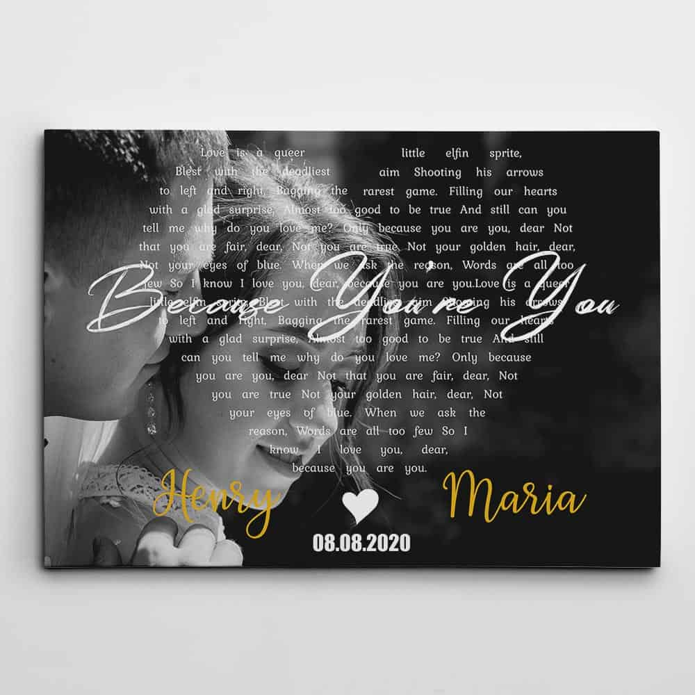 personalized gifts for valentines day: photo song lyrics canvas print