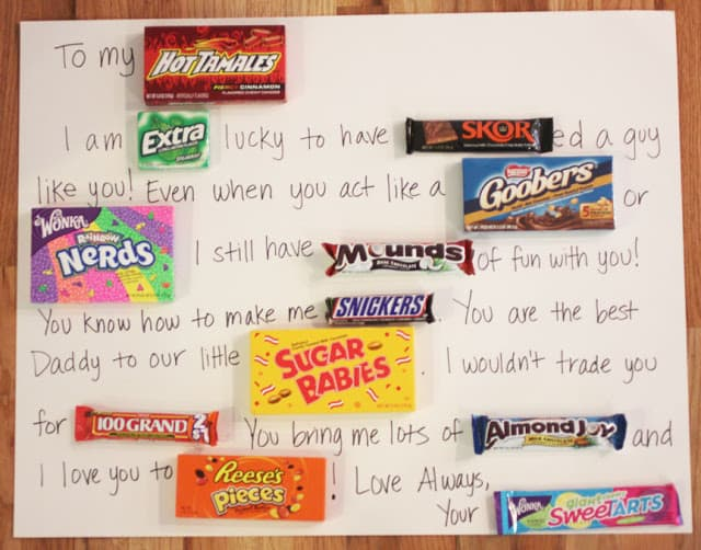 cute valentines day gifts for him: candy bar card