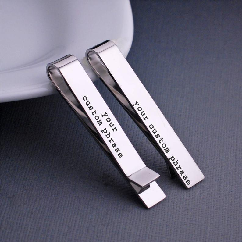personalized valentine day gift for him: custom tie bar