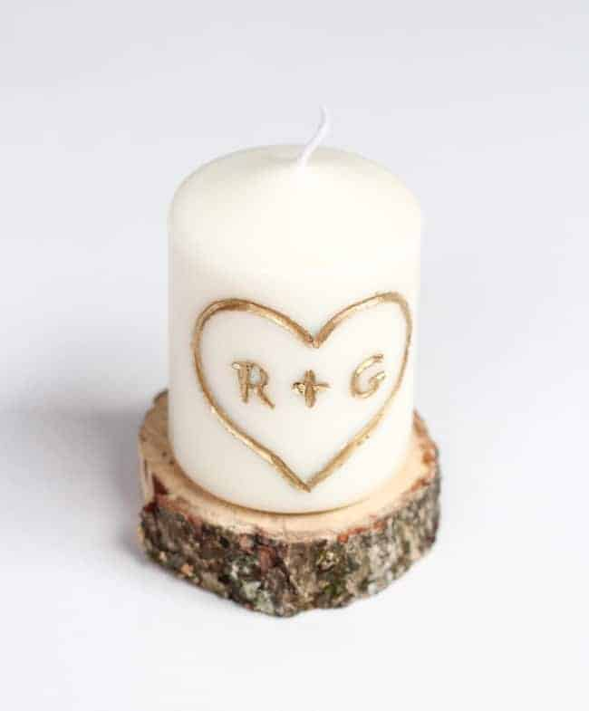 homemade valentines gifts for him: diy carved candle