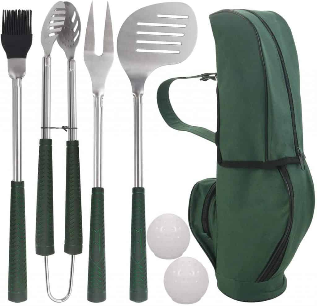 funny dad gifts: golf club grilling accessories kit