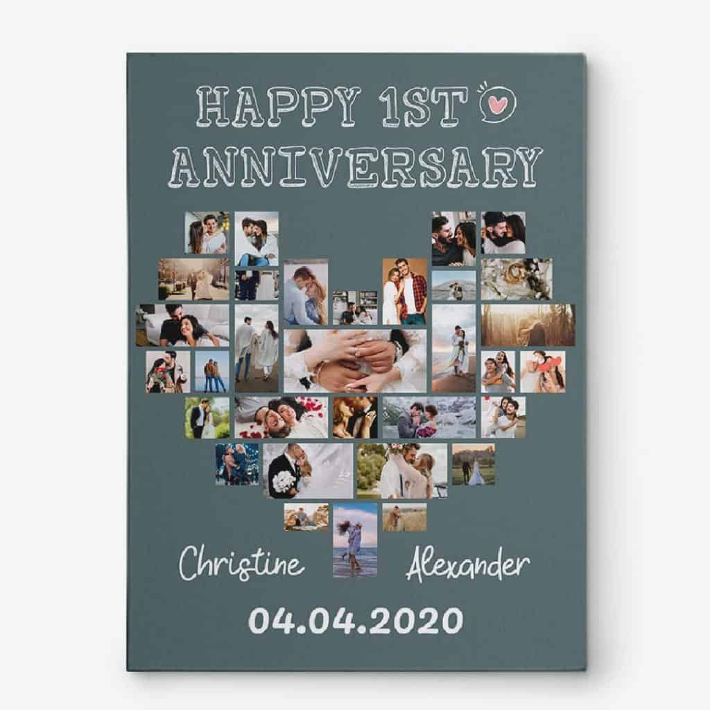Happy First Anniversary Photo Collage Canvas Wall Art