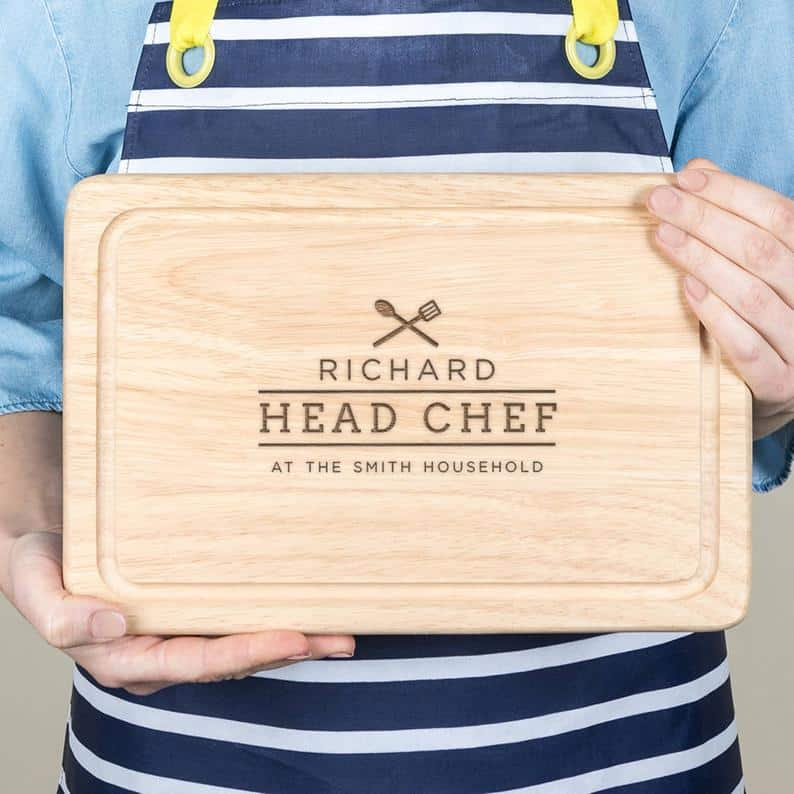 personalised valentines gift for him: personalized head chef cutting board