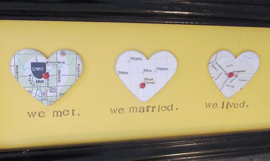 homemade valentines day ideas for him: heart map art frame
