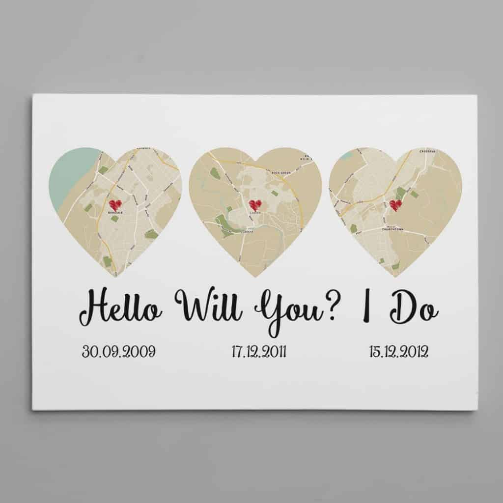 valentines gift ideas for husbands: hello will you i do canvas print