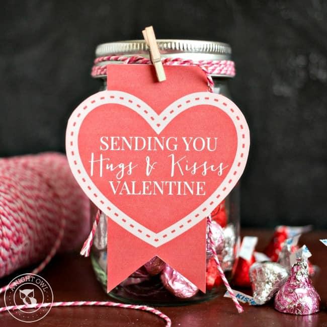 hugs and kisses mason jar diy valentines gifts