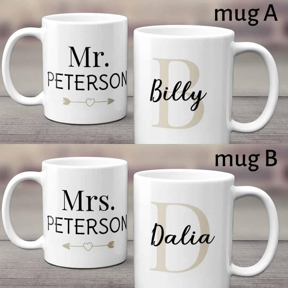 valentine gift idea for husband: mr and mrs couple mug