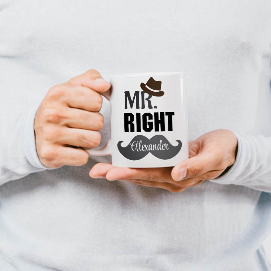 funny valentines gifts for him: mr right mug