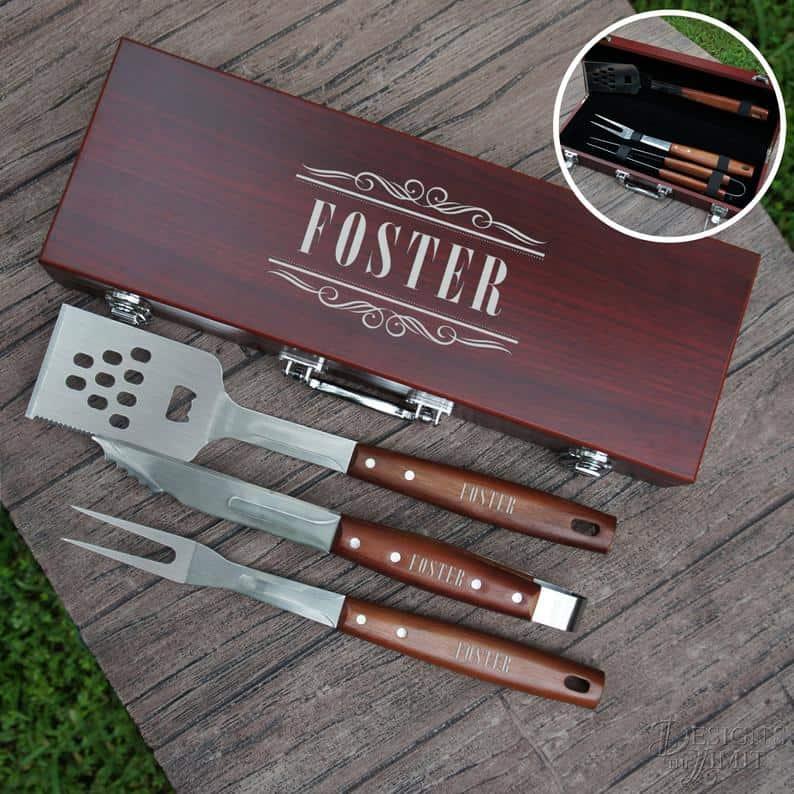 engraved bbq tool set