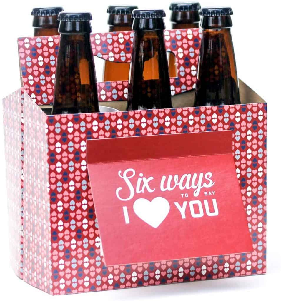 funny valentines gifts for him: six pack greeting card box