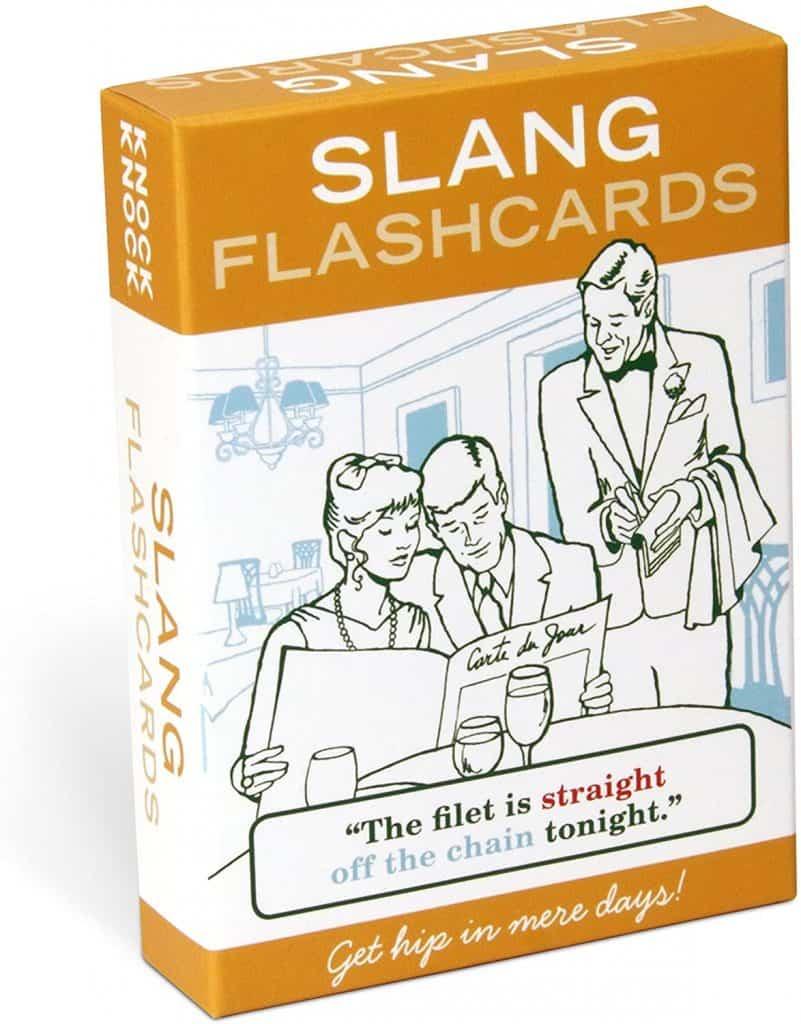 gag gifts for dad: knock knock slang flashcards