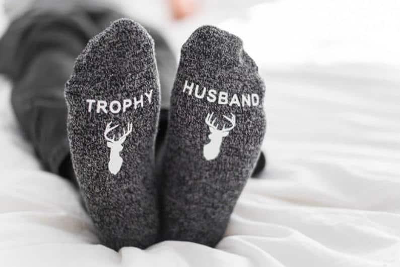 funny valentines gifts for him: trophy husband socks