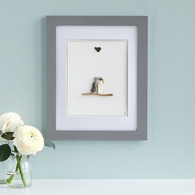personalized valentine's day gifts for him: wedding pebble portrait