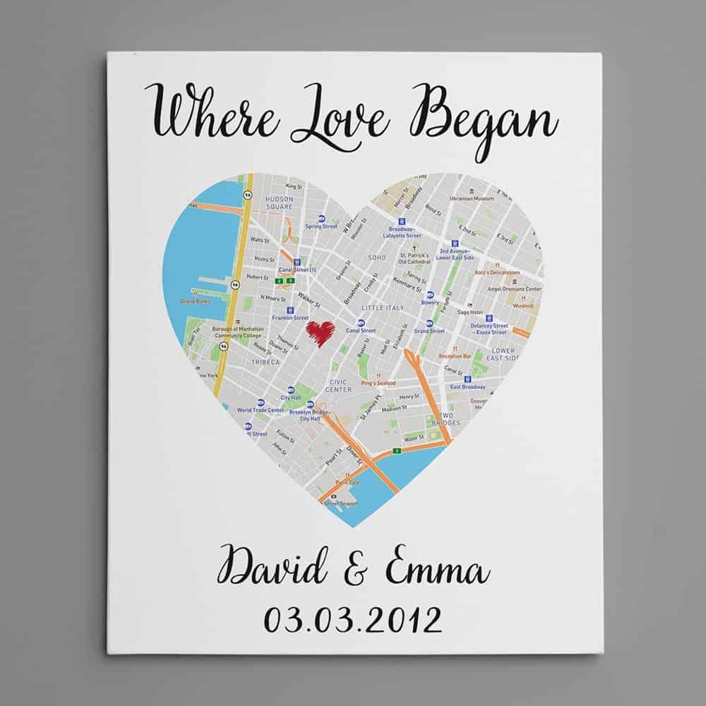 where love began custom heart map canvas print