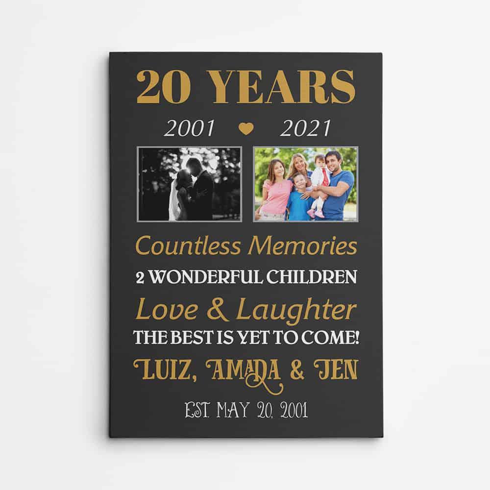 20 Years Anniversary Custom Photo Canvas Print