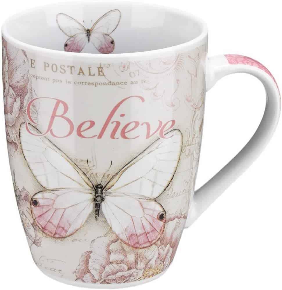 Believe Butterfly Coffee Mug w:Mark 9-23, Bible Verse Mug for Women