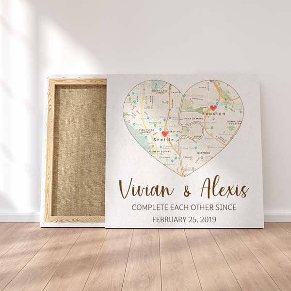 Complete Each Other Map Wall Art