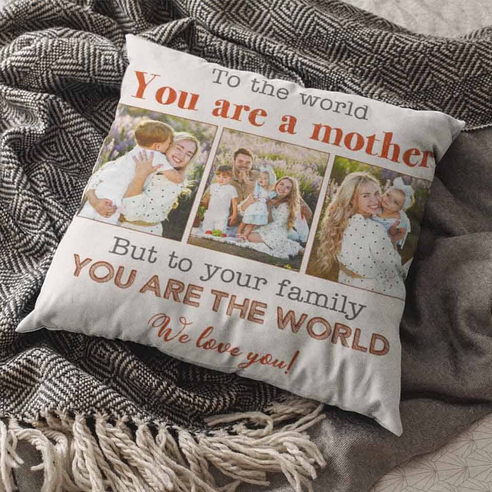mothers day gift ideas for mom from son - Custom Photo Suede Pillow