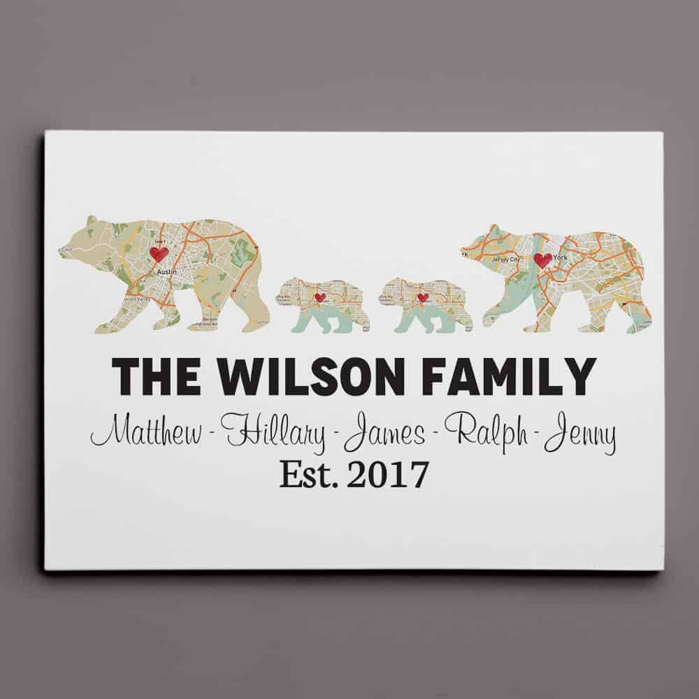 Bear Family Retro Map Custom Canvas Print, Gift For Dad