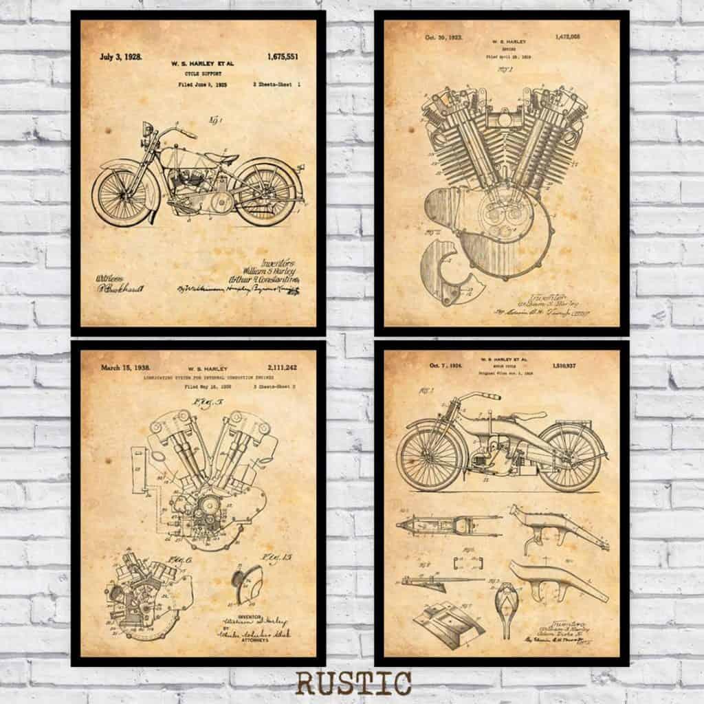 Harley Davidson Blueprints Wall Art Prints
