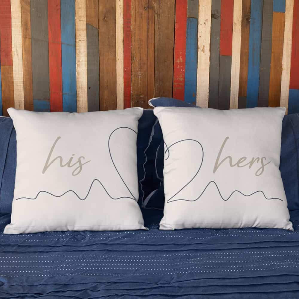 anniversary gift ideas: his and hers couple pillows