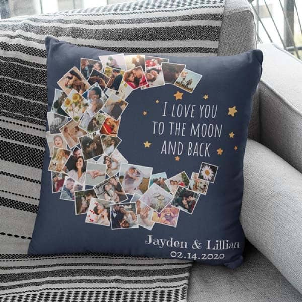 I Love You To The Moon And Back Pillow: romantic gifts for him