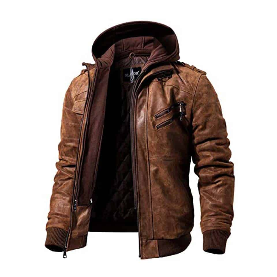 Leather Jacket with Removable Hood - gift ideas for new relationship