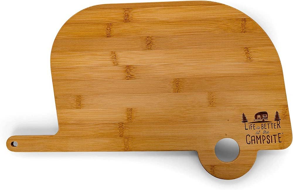 Life is Better at The Campsite Retro RV Shaped Bamboo Wood Cutting Board for Food Prep