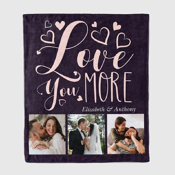 Love You More Photo Blanket: romantic gifts for him