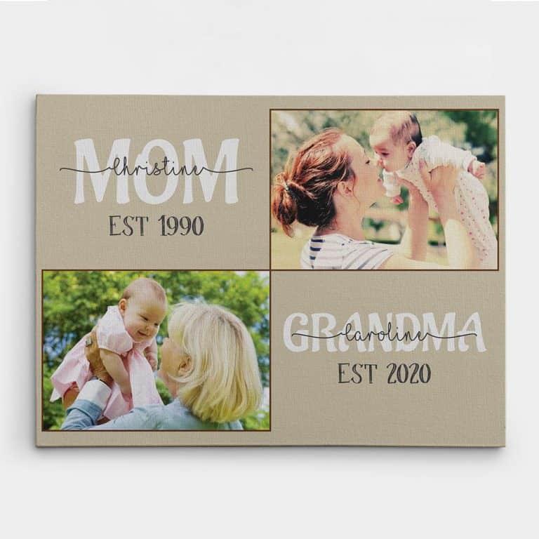 Mom Grandma Established Custom Canvas Print