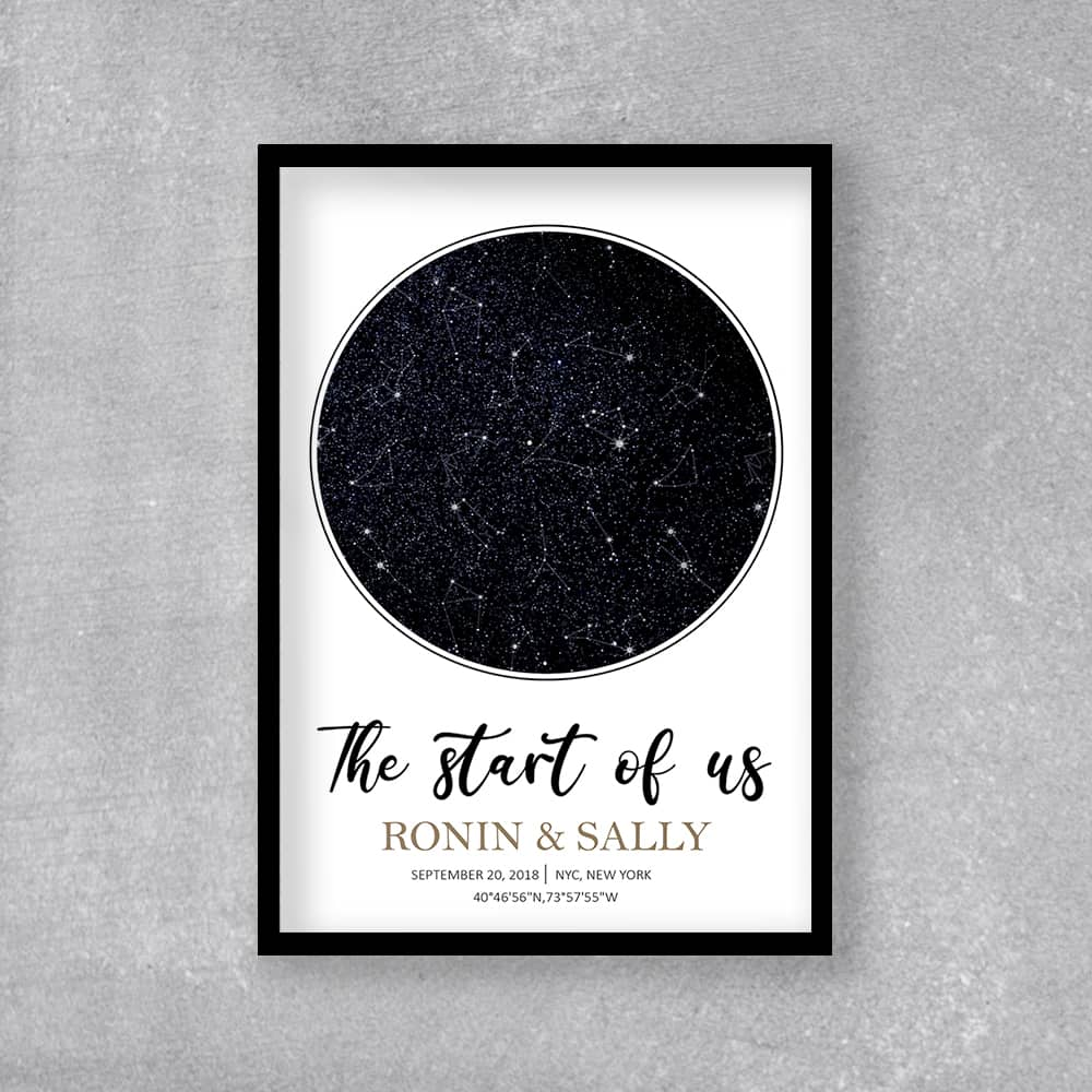 Personalized Star Map Wall Art: romantic gifts for him