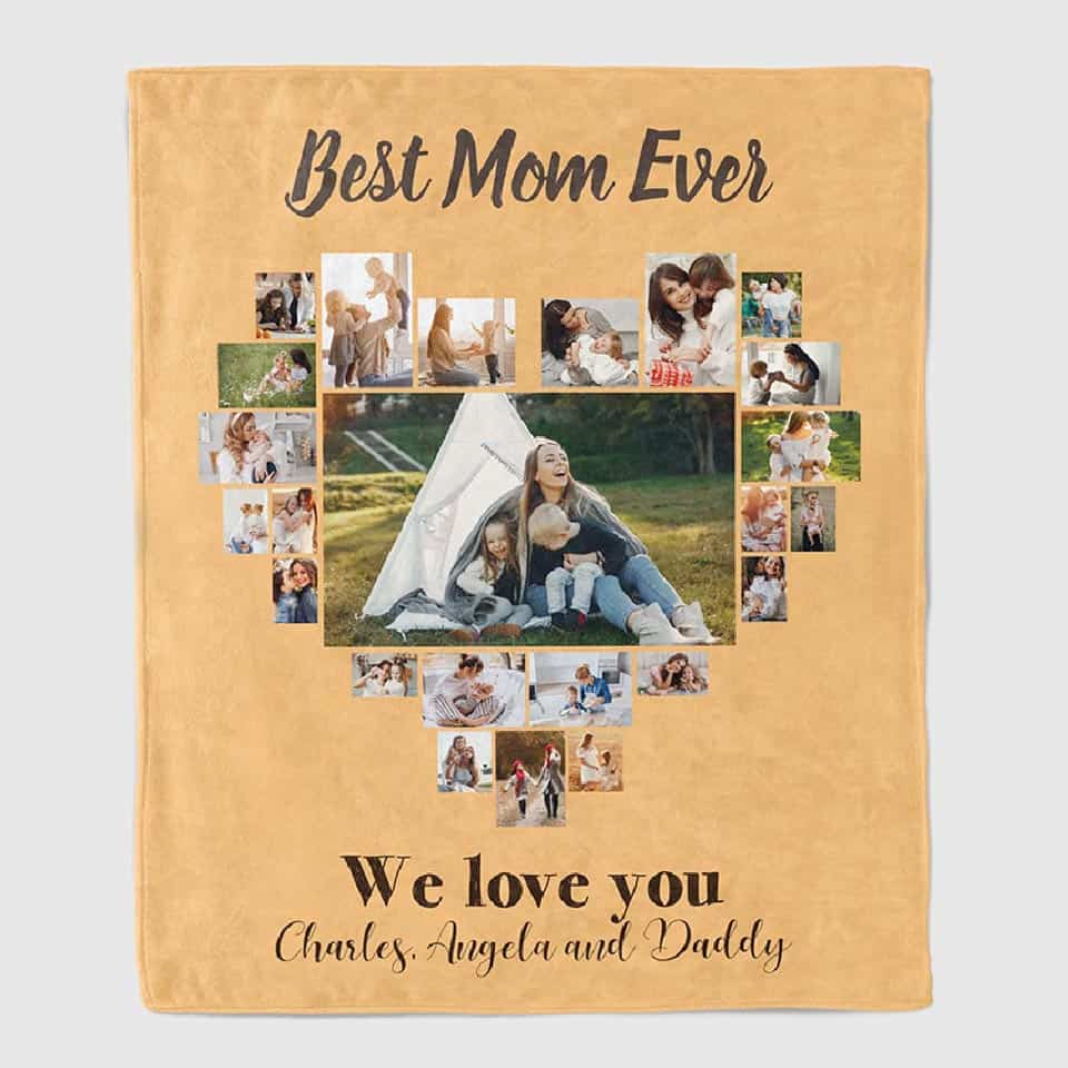 gifts to mom from son - Photo Collage Throw Blanket