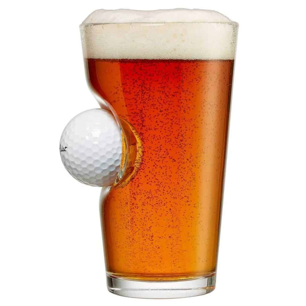 Pint Glass with Real Golf Ball, Novelty Gift For Dad